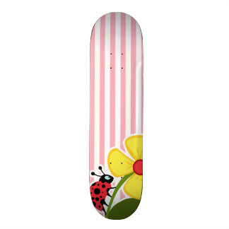 Cute Ladybug on Bubble Gum Pink Stripes Skate Board