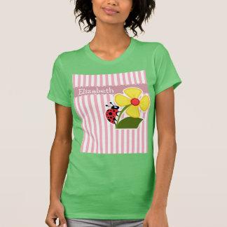 Cute Ladybug on Bubble Gum Pink Stripes T-Shirt