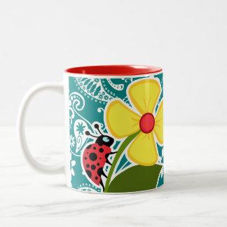 Cute Ladybug on Dark Cyan Paisley Two-Tone Coffee Mug