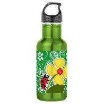 Cute Ladybug on Kelly Green Paisley Stainless Steel Water Bottle