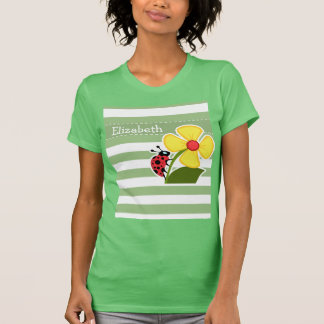 Cute Ladybug on Laurel Green Horizontal Stripes T-Shirt