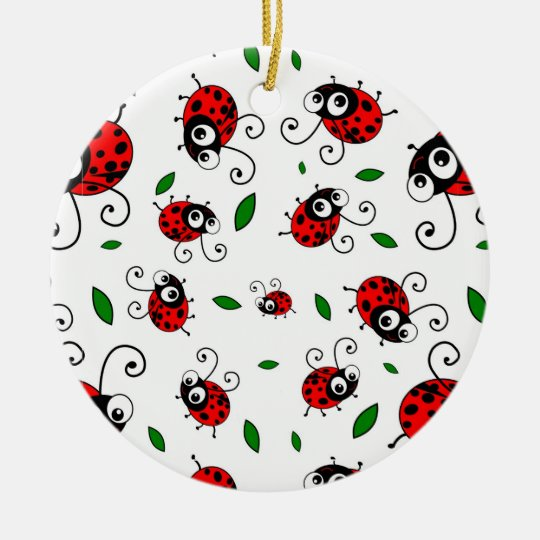Cute ladybug pattern ceramic ornament