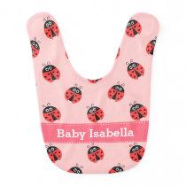 Cute Ladybug Pattern for Sweet Baby Girls Bib