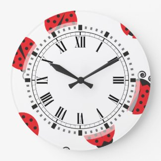 Cute Ladybug Pattern Large unique Clock