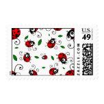 Cute ladybug pattern postage stamp