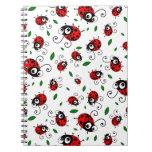 Cute ladybug pattern spiral note book