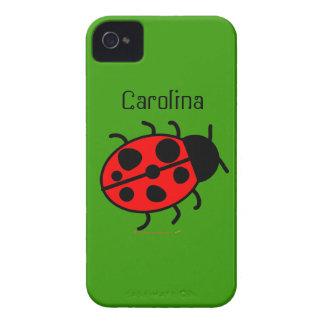 Cute Ladybug Personalized Custom Name Cover Case-Mate iPhone 4 Case