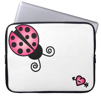 Cute Ladybug - Pink and Black Laptop Sleeve