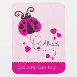 Cute Ladybug Pink Hearts Scallop Edge Name Blanket at Zazzle