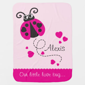Cute ladybug pink hearts scallop edge name blanket