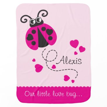 Valentines Themed Cute ladybug pink hearts scallop edge name blanket