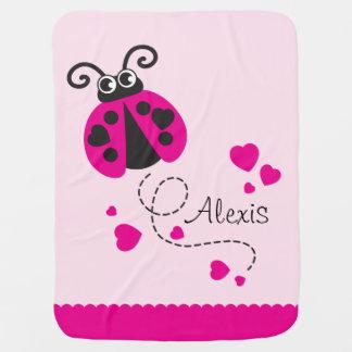 Cute ladybug pink hearts scallop edge name blanket