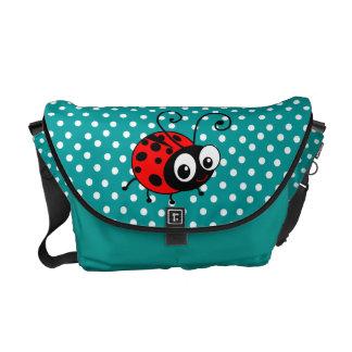 Cute ladybug polka dot blue bag