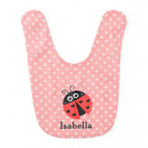 Cute Ladybug Polka Dots Baby Girl Personalized Bib