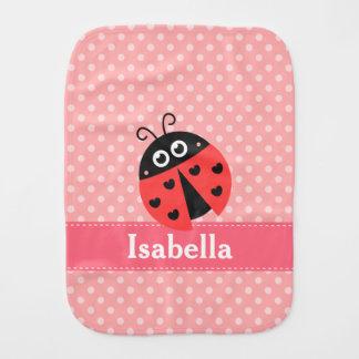 Cute Ladybug, Polka Dots, for Sweet Baby Girls Baby Burp Cloth
