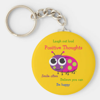 """Cute Ladybug """"Positive Thoughts"""" Basic Round Button Keychain"""