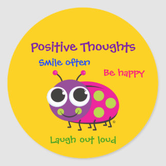 "Cute Ladybug ""Positive Thoughts"" Classic Round Sticker"