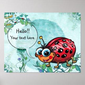 Cute LadyBug Poster - cute ladybug wall decorations