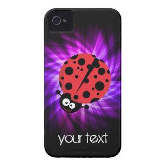 Cute Ladybug; Purple iPhone 4 Case