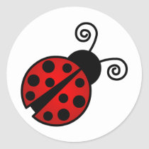 Cute Ladybug - Red and Black Classic Round Sticker