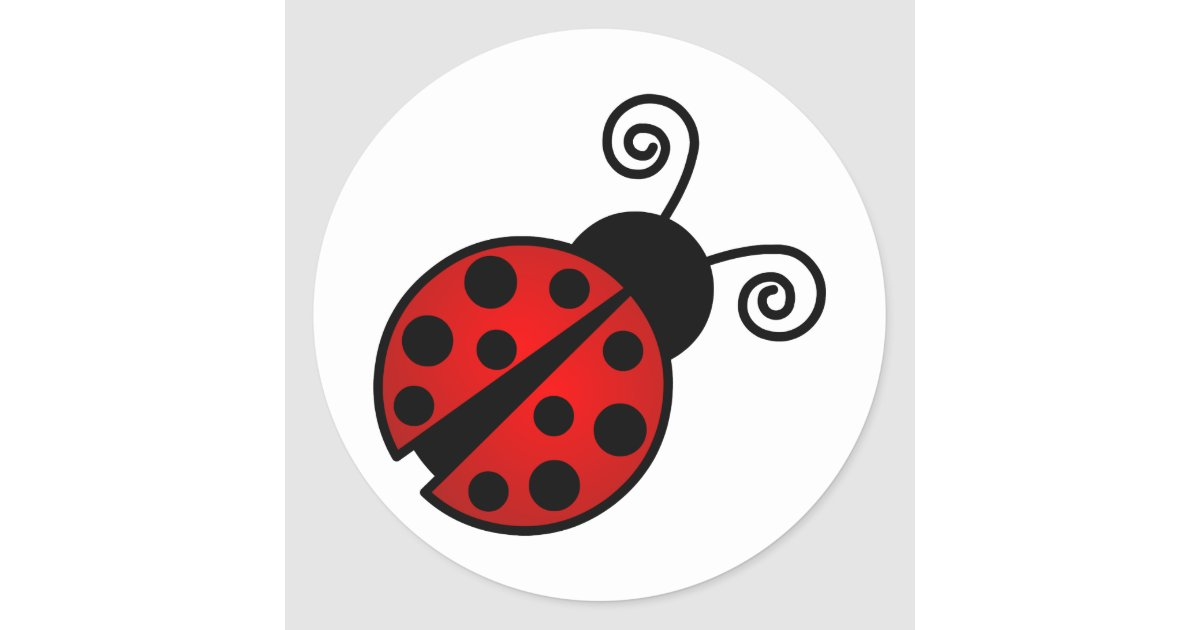 Cute Ladybug Red And Black Classic Round Sticker