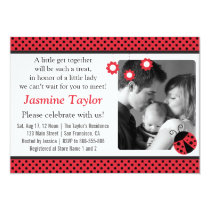 Cute Ladybug, Red and Black Polka Dots Baby Shower Card