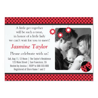 """Cute Ladybug, Red and Black Polka Dots Baby Shower 4.5"""" X 6.25"""" Invitation Card"""
