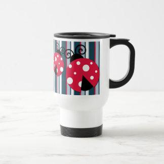 Cute Ladybug Red White Blue Stripes Pattern 15 Oz Stainless Steel Travel Mug