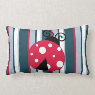 Cute Ladybug Red White Blue Stripes Pattern Pillow