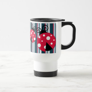 Cute Ladybug Red White Blue Stripes Pattern Travel Mug