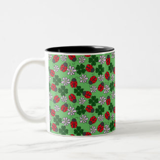Cute Ladybug res and green pattern Two-Tone Coffee Mug