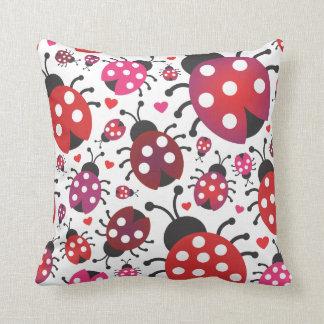 Cute ladybug retro pattern polka dot design pillow