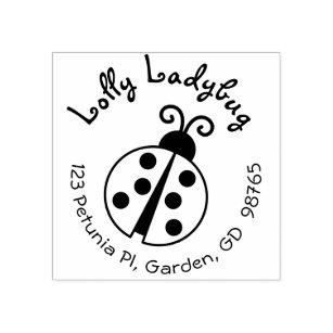Cute Ladybug Return Address Stamp For Kids Round