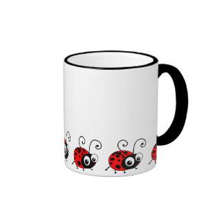 Cute Ladybug Ringer Coffee Mug