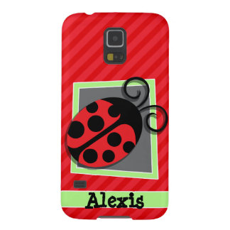 Cute Ladybug; Scarlet Red Stripes Galaxy S5 Cases