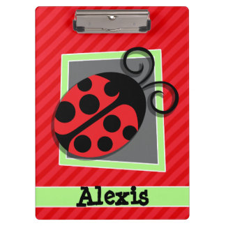 Cute Ladybug; Scarlet Red Stripes Clipboard