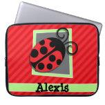 Cute Ladybug; Scarlet Red Stripes Laptop Sleeve