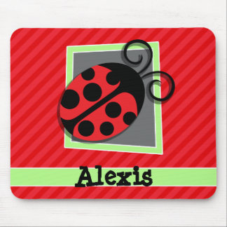 Cute Ladybug; Scarlet Red Stripes Mouse Pad