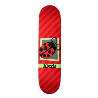 Cute Ladybug; Scarlet Red Stripes Custom Skateboard
