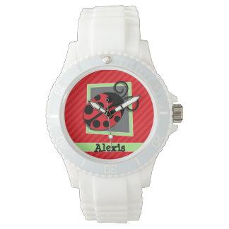 Cute Ladybug; Scarlet Red Stripes Wristwatch