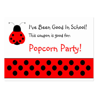 Cute Ladybug School Coupon Business Card Templates