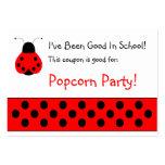 Cute Ladybug School Coupon Large Business Card