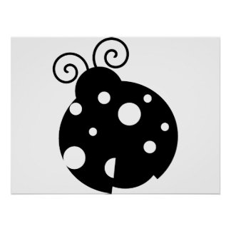 Cute Ladybug Silhouette Poster