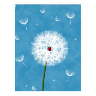 Cute ladybug sitting on top of a dandelion postcard
