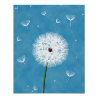 Cute ladybug sitting on top of a dandelion poster