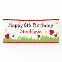 Cute ladybug theme happy birthday banner