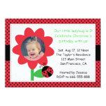 "Cute Ladybug turns 3, 3rd birthday, polka dots 4.5"" X 6.25"" Invitation Card"