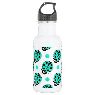 Cute Ladybug, Turquoise Green & White Polka Dots 18oz Water Bottle