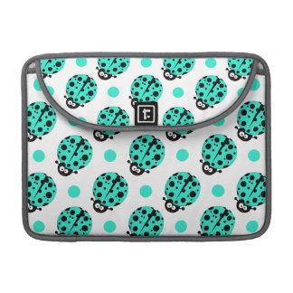 Cute Ladybug, Turquoise Green & White Polka Dots Sleeve For MacBooks