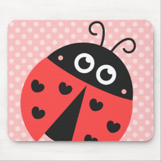 Cute ladybug with black hearts and pink polka dots mouse pad